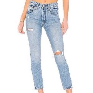 LEVIS 501 Button Fly High Rise Distressed Jeans